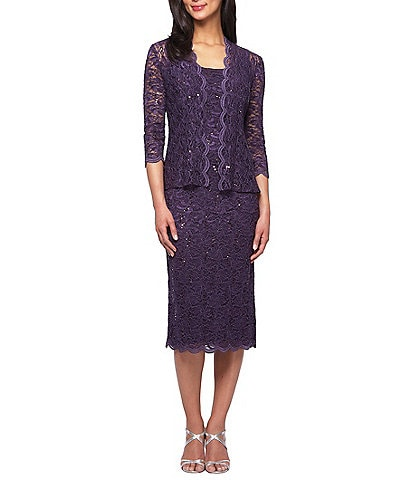 Alex Evenings Scalloped Lace Midi Jacket Dress
