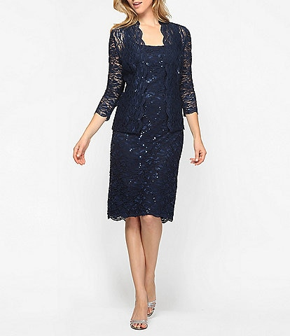 Alex Evenings Square Neck 3/4 Sleeve Scalloped Lace Midi Jacket Dress