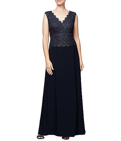 Alex Evenings Scalloped V-Neck Cap Sleeve Lace Bodice A-Line Gown