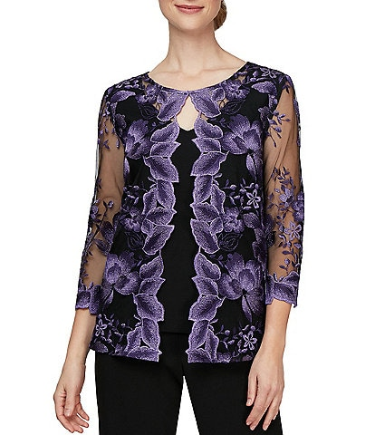 Alex Evenings Jewel Neck 3/4 Sleeve Embroidered Twinset Top