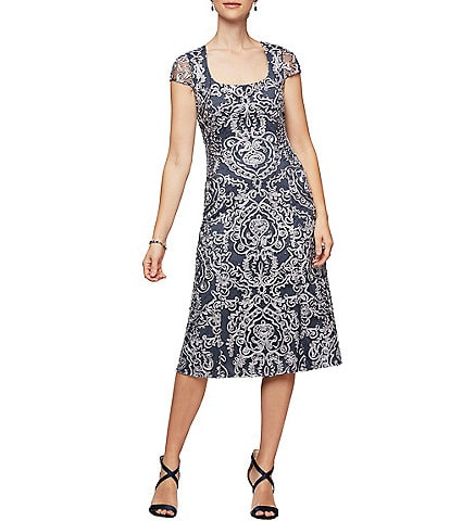 Alex Evenings Scoop Neck Cap Sleeve Soutache Midi Dress