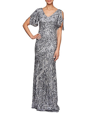 Alex Evenings Sequin A-Line Flutter Cold Shoulder Sleeve Long Gown