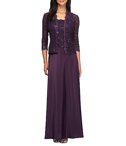 Alex Evenings 2 Piece Sequin Lace A-Line Satin Jacket Dress