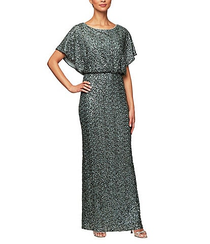 Alex Evenings Sequin Flutter Sleeve Blouson Long Gown