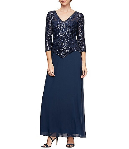 Alex Evenings Sequin Lace Bodice V-Neck 3/4 Sleeve Chiffon Gown