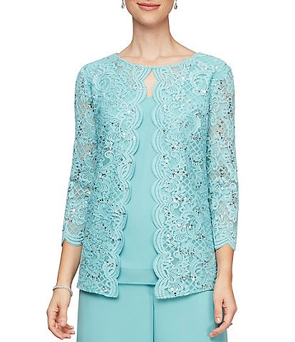 Alex Evenings Sequin Lace Chiffon Scallop Trim Detail Faux Twinset