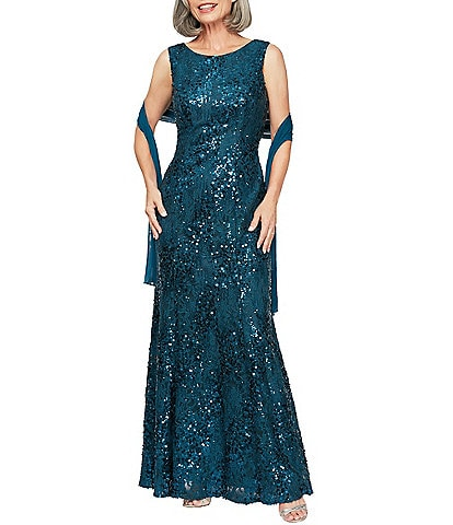 Alex Evenings Sequin Lace Sleeveless With Shawl Gown