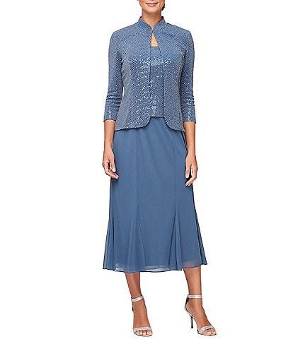 Alex Evenings Sequin Metallic Knit A-line Jacket Dress