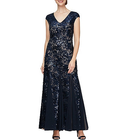 Alex Evenings Sequin Stretch Lace Fit And Flare Dress