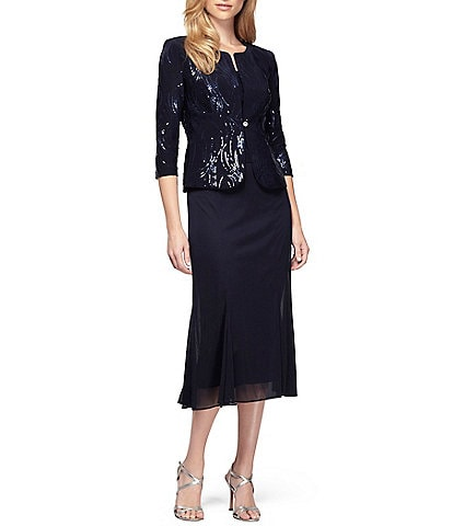 Alex Evenings Sequin Waves 2-Piece Tea Length Jacket Dress