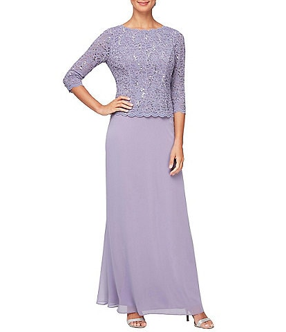Alex Evenings Sequined Lace Scalloped Bodice Chiffon Skirted Gown
