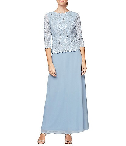 Alex Evenings Sequined Lace   Chiffon Gown 747429b13