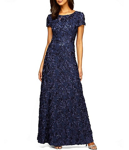 9115345b9a2e Alex Evenings Sequined-Lace Rosette-Rose Gown