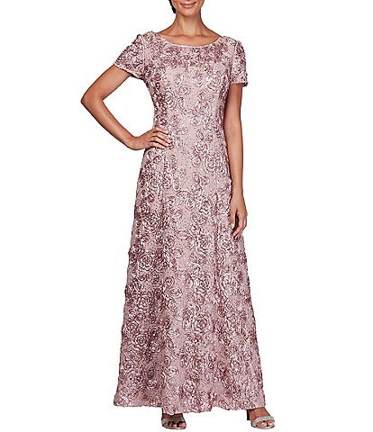 Alex Evenings Sequined Lace Rosette Rose Gown