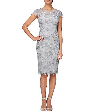 Alex Evenings Short Sleeve Jewel Neck Embroidered Sheath Dress