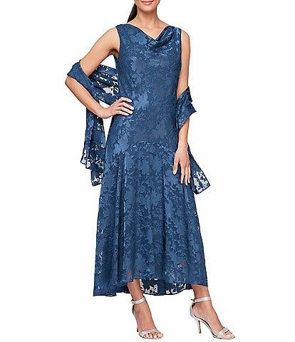 Alex Evenings Sleeveless Cowl Neck Floral Satin Burnout Dress