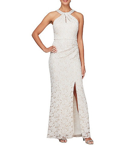Alex Evenings Sleeveless Embellished Stretch Lace Halter Gown