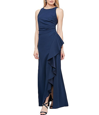 Alex Evenings Sleeveless Soft Stretch Crepe Ruched Ruffle Gown