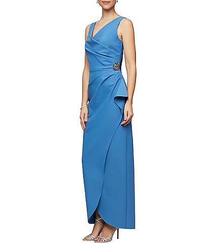 Alex Evenings Sleeveless Surplice Neckline Beaded Detail Sheath Dress