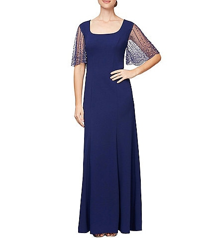 Alex Evenings Square Scoop Neck Embellished Flutter Elbow Sleeve A-Line Dress