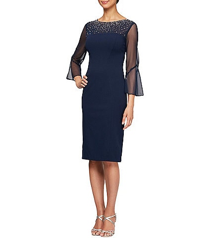 Alex Evenings Stretch Crepe Embellished Illusion Neck 3/4 Bell Sleeve Sheath Dress