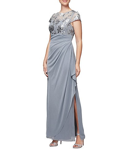 Alex Evenings Stretch Empire Waist Embroidered Sequin Gown