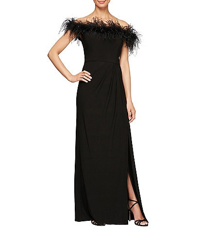 Alex Evenings Stretch Matte Jersey Feather Off-the-Shoulder Front Slit Gown