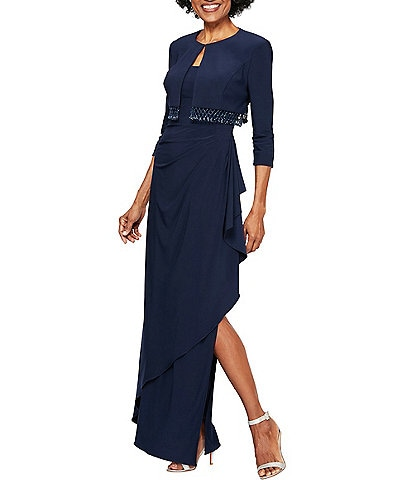 Alex Evenings Stretch Matte Jersey Side Slit Cascading Skirt Fringe Bolero Jacket Dress
