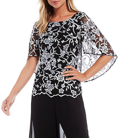 Alex Evenings Stretch Tulle Floral Embroidered Caplet Sleeve Scallop Hem Top