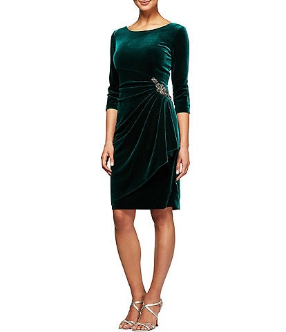 Alex Evenings Stretch Velvet 3/4 Sleeve Ruched Sheath Dress