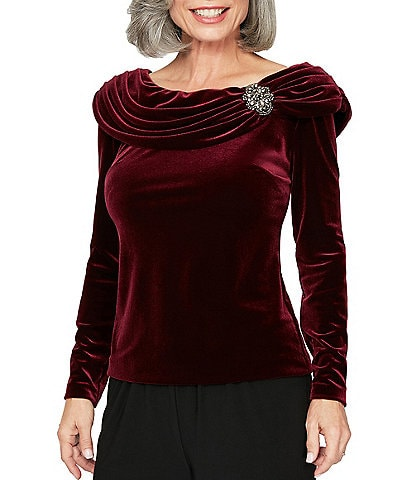 Alex Evenings Stretch Velvet Beaded Brooch Detail Long Sleeve Blouse