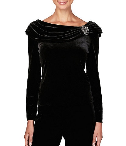 Alex Evenings Stretch Velvet Long Sleeve Ruched Beaded Accent Collar Boat Neck Blouse