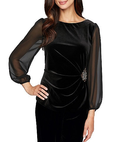 Alex Evenings Stretch Velvet Ruched Waist 3/4 Chiffon Sleeve Top