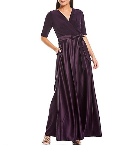 Alex Evenings Surplice V-Neckline Elbow Sleeve Bow Detail Satin Skirt Dress