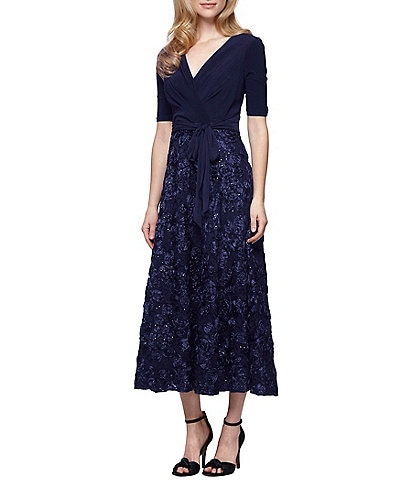 Alex Evenings Tea-Length Rosette Skirt Party Dress