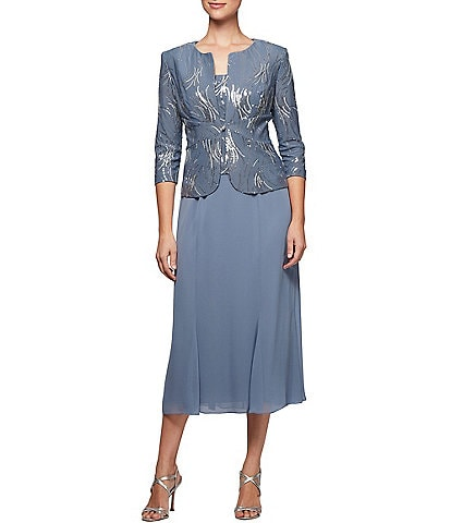 Alex Evenings Sequin Bursts Tea Length 2 Piece Jacket Dress