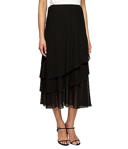 Alex Evenings Tiered Ruffle Chiffon A-Line Midi Skirt