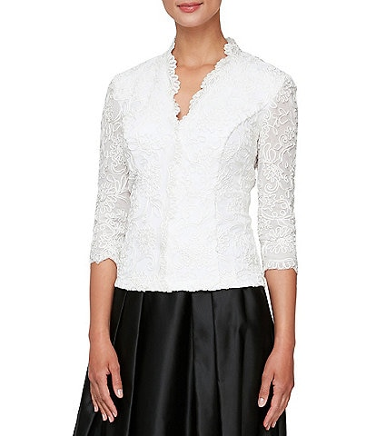 Alex Evenings V-Neck 3/4 Sleeve Scalloped Lace Lined Embroidered Top