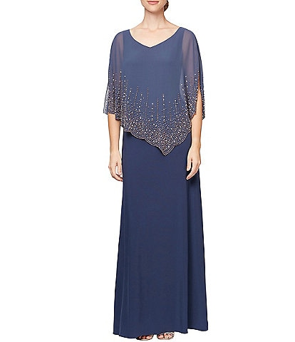 Alex Evenings V-Neck Asymmetric Embellished Popover Dress