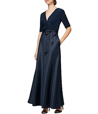 Alex Evenings V-Neck Elbow Sleeve Tie Waist Satin A-Line Gown