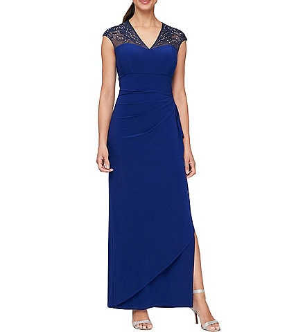 Alex Evenings V-Neck Embellished Ruffle Jersey Gown