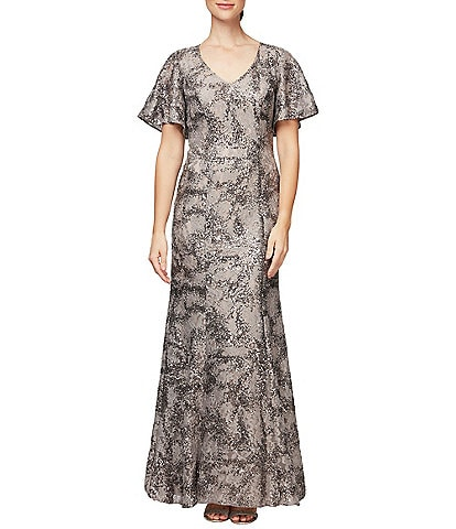 Alex Evenings V-Neck Flutter Sleeve Sequin Lace Gown