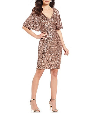 Alex Evenings V-Neck Metallic Sequin Caplet Sheath Dress
