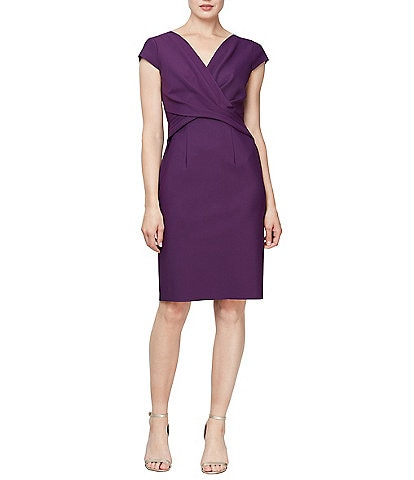 Alex Evenings V-Neck Wrap Bodice Detail Scuba Sheath Dress