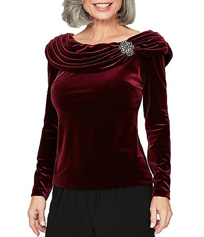 Alex Evenings Velvet Long Sleeve Ruched Boat Neck Blouse