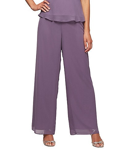 Alex Evenings Wide Leg Chiffon Pant