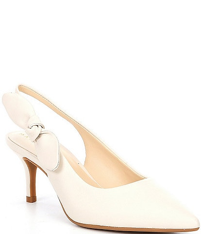 Alex Marie Aaileen Bow Leather Slingback Pumps