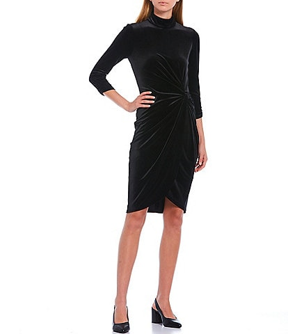 Alex Marie Addison Velvet Mock Neck 3/4 Sleeve Twist Detail Dress