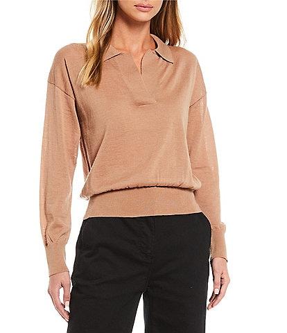 Alex Marie Alexa Washable Merino Wool Long Sleeve Johnny Collar Sweater