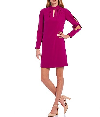 Alex Marie Alice Keyhole Mock Neck Split Sleeve Dress